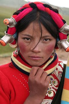 Tibetan woman by Josh Maxwell