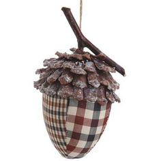 "RAZ Forest Frost Acorn Christmas Ornament  Brown/Cream/Black Made of Pinecone Measures 6.5"" X 4""  RAZ Forest Frost Collection **Arriving Summer 2012**"