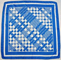 "Vintageauthentic Geometric Art Zig Zag Blue White Silk 30"" Square Scarf 