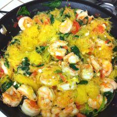 Spaghetti squash and shrimp dinner from www.cooks.com