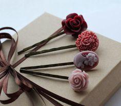Cherry Plum Flower Bobby Pins Plum, Purple, Maroon, Merlot, Cherry, $24.