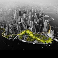 "From www.dezeen.com, on June 3, 2014: Danish studio BIG has been granted $335 million to upgrade Lower Manhattan's storm defences, as one of six winners in the Rebuild by Design initiative to revive parts of the USA struck by Hurricane Sandy. (Artists Rendering)   Cathy says, ""This looks super cool. I like the idea of usable-open to the public services that also happen to protect the city from floods. I hope it all works out."""