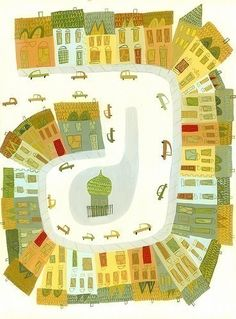 """A Happy Town in France,"" Matte Stephens. (Illustration of Place/Space using Distorted Perspective) Plan Paris, House Quilts, Children's Book Illustration, Large Prints, Kitsch, Home Art, Illustrations Posters, Illustrators, Art For Kids"