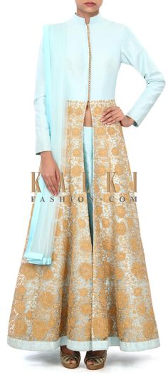 Buy Online from the link below. We ship worldwide (Free Shipping over US$100) Price- $449 Click Anywhere to Tag http://www.kalkifashion.com/sky-blue-anarkali-suit-enhanced-in-zari-embroidery-only-on-kalki.html