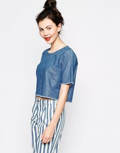 Image 1 of Monki Denim Cropped T-Shirt