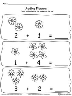 **FREE** Adding Numbers With Flowers - Sums to 5 Worksheet. Add numbers using pictures of flowers. Sums to 5 in this printable math worksheet. #MyTeachingStation