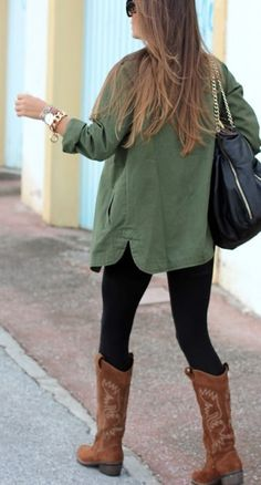 Gorgeous fashion with cowboy boots and leggings..... click on picture to see more