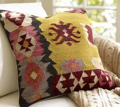 Collecting a bunch of random pillows, I like this one- Kilim Pillow Cover #potterybarn