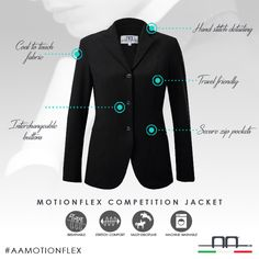 MotionFlex Competition Jacket special features. #aaridingstyle #stylesteal #aamotionflex #italian #clothing #equestrian