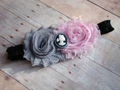 Pink gray and black vintage flower by AvasTutuCuteBoutique on Etsy, $11.00