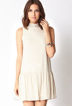 Sweet Side Drop Waist Dress | FOREVER 21 - 2031558299has a faux pearl and jewel collar.