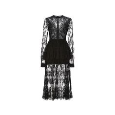 Double Georgette and Lace Double Tier Dress | Moda Operandi (€6.345) ❤ liked on Polyvore featuring dresses, black dress, elie saab, long-sleeve midi dresses, lace sheath dress, long sleeve midi dress, lace peplum dress and long sleeve dress