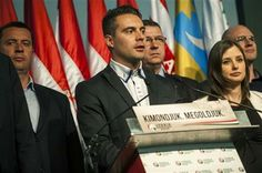Chairman of the radical nationalist Jobbik party Gabor Vona, center, delivers his speech after the parliamentary elections in the Budapest Congress Centre in Budapest, Hungary, late Sunday, April 6, 2014. (AP Photo/MTI, Janos Marjai) ▼6Apr2014AP|Hungary prime minister wins 3rd term http://bigstory.ap.org/article/hungary-prime-minister-seeks-3rd-term #Jobbik_party #Gabor_Vona #Budapest