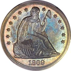 1869 Seated Liberty Dollar, deeply toned.