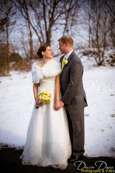 Cheerful Winter Wedding in yellow - love the snowflake detail on the bridal gown