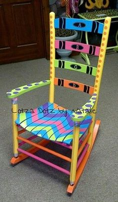 want a share chair in my classroom Painted Wooden Chairs, Painted Rocking Chairs, Hand Painted Furniture, Funky Furniture, Painted Tables, Furniture Design, Teacher Rocking Chairs, Teacher Chairs, Authors Chair