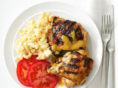 Carolina-Style Barbecue Chicken.  Love chicken thighs on the grill.  Inexpensive, easy and don't dry out like chicken breasts.