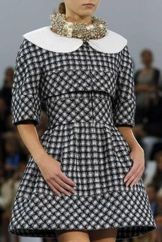 Chanel Spring 2013 Details. This dress is original yet retro. I really love it but the neck armor seems odd.
