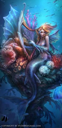 Home Wall Decor Fantasy Art Mermaid Oil Painting Picture Printed On Canvas. Home Decoration Ideas For Mermaid Lovers. Fantasy Mermaids, Mermaids And Mermen, Real Mermaids, Magical Creatures, Fantasy Creatures, Sea Creatures, Fantasy Kunst, Fantasy Art, Dream Fantasy