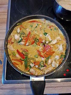 Currypfanne mit Reis, leicht scharf