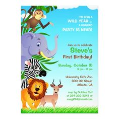 If you are looking for invitation cards for your kid's birthday, then this cute Birthday Jungle Animals Invitation Card is perfect for you, and it's totally customizable!
