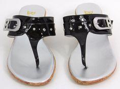 Bellini Skywest Womens Sandals Thong Wedge Black Buckle Rhinestone Silver 7.5M #Bellini #TStrap #Casual