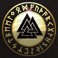 FUTHARK (rune alphabet) with Valknut. Odin hung for 9 days from a tree to acquire the runes and their meanings