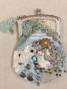 I ❤ crazy quilting, beading & ribbon embroidery . A coin purse for a friend. ~By Pat Winter ♥ Crazy Quilt Stitches, Crazy Quilt Blocks, Crazy Quilting, Beaded Purses, Beaded Bags, Vintage Purses, Vintage Handbags, Silk Ribbon Embroidery, Hand Embroidery
