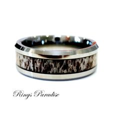 Rose Gold Real Elk Antler Ring Antler Wedding Bands Tungsten Rings