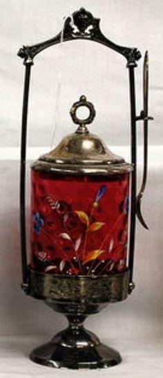 Pickle Castor; Cranberry Glass, Thumbprint & Enameled Floral, Fork, Silverplated Holder. Antique Dishes, Antique Glass, Vintage Table, Vintage Kitchen, Kitchen Items, Kitchen Gadgets, Brides Basket, Pickle Jars, Cranberry Glass