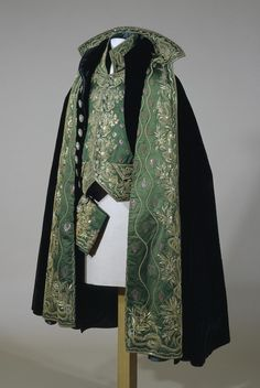 Costume of the Holder of the Order of the Holy Spirit that Belonged to Alexander I (waistcoat) {Костюм кавалера Ордена Святого Духа, принадлежавший Александру I (жилет)}   Place of creation: France   Material: velvet (ground), silk, silver and golden threads, sequins, twist and foil   Technique: embroidery in couched stitch and patterned golden technique   Date: First quarter of the 19th century; Hermitage; St Petersburg