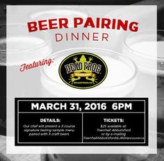 Townhall Abbotsford Presents: The Dead Frog Brewing Craft Beer Pairing Dinner Seating is limited and these events sell out! TownhallAbbotsford@JRGVancouver.ca to save your spot.