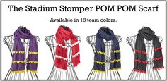 POM POM Scarves by Stadium Stompers. Avail in 18 team (SEC) colors http://is.gd/W7bq4x