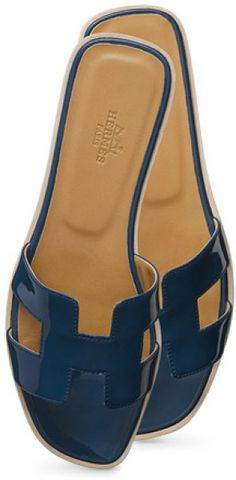 6e542edee62a Hermes Blue Oran Shoes Hermes Slippers