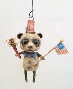 4th July Miniature Panda Ornament Vintage Type Spun Cotton OOAK Artist Made | eBay