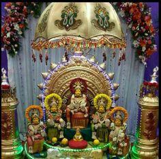 Lakshmi Festival Decorations, Wedding Decorations, Pooja Mandir, Pooja Rooms, Floor Design, Goddesses, Festive, Flooring, Decorating