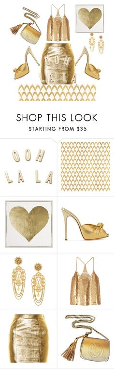 """Gold"" by greensparkle1 ❤ liked on Polyvore featuring Kate Spade, Barclay Butera, Oliver Gal Artist Co., Giuseppe Zanotti, Dolce&Gabbana, TIBI, Yves Saint Laurent and Gucci"