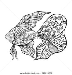 Hand drawn of fish isolated. For tattoo art, coloring books. Black and white version. Vector illustration. EPS 10
