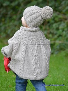 """Ravelry: Temptation Poncho and Hat Set pattern by Tatsiana Matsiuk [ """"Temptation poncho and hat set is stylish and super cosy clothing for your little one. It is designed to keep your little one away from wind and cold. Christmas Knitting Patterns, Baby Knitting Patterns, Crochet Patterns, Knitting Ideas, Knitting Projects, Arm Knitting, Knitting For Kids, Knitting Needles, Crochet Baby"""