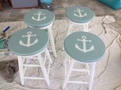 Nautical Bathroom Design Ideas, Nautical Home, Nautical Interior, Vintage Nautical, Coastal Cottage, Coastal Decor, Coastal Homes, Coastal Living, Green Bar Stools