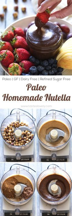 Homemade Paleo Nutella - made with just hazelnuts cocoa powder and coconut sugar! A much healthier Nutella copycat hazelnut spread that is paleo dairy free refined sugar free gluten free grain free and clean eating. Paleo Dessert, Healthy Sweets, Gluten Free Desserts, Dairy Free Recipes, Vegan Desserts, Whole Food Recipes, Dessert Recipes, Low Sugar Recipes, Desert Recipes