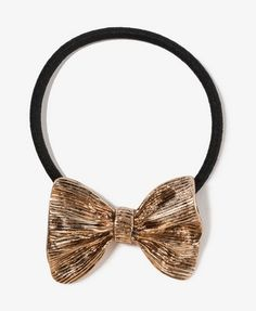 Forever 21 Scrunched Bow Hair Elastic in antique gold/black