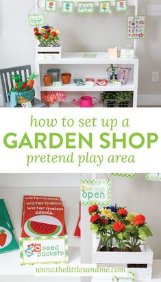 to Set Up Garden Shop Pretend Play Area on The Littles and Me Set up a Garden Shop Pretend Play area that is the perfect addition to your playroom or classroom. This is such a fun and simple way to learn through play!This This may refer to: Dramatic Play Themes, Dramatic Play Area, Dramatic Play Centers, Play Based Learning, Learning Through Play, Room Ideias, Activities For Kids, Crafts For Kids, Health Activities