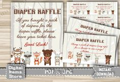 Woodland Winter Diaper Raffle Sign and Tickets - Printable Diaper Raffle with Snow Forest Animals Theme - Instant Download - w2 by DigitalitemsShop on Etsy