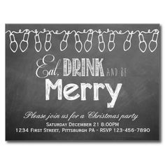 Chalkboard Holiday Party Postcard Invitation | Visit the Zazzle Site for More: http://www.zazzle.com/?rf=238228028496470081