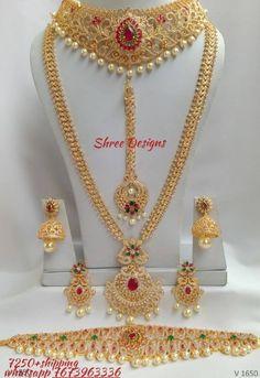 Gold Jewellery Design, Cz Jewellery, Bridal Jewellery, Gold Jewelry, Indian Bridal Jewelry Sets, Wedding Jewelry Sets, Bridal Necklace Set, Gold Necklace, Mehndi