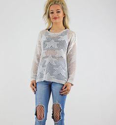White Star Pattern Open Sheer Crochet Long Sleeve Jumper xx