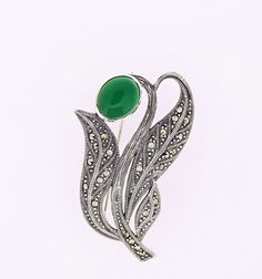 Green Agate and Marcasite Flower Brooch Marcasite Jewelry, Green Agate, Flower Brooch, Craft Work, Brooches, Jewlery, Artisan, Art Deco, Sterling Silver