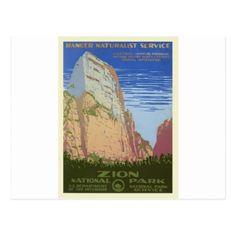 #Vintage Zion Park Postcard - #vintage #travel #cards #custom #personalize