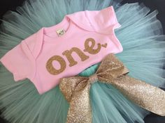 Mint Pink and Gold baby girl's first by PaisleyPrintsSpokane, $52.95